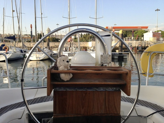 A toy hedgehog sitting at a sailboat's wheel
