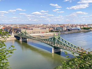 The Liberty Bridge, Danube River, and Pest in Budapest