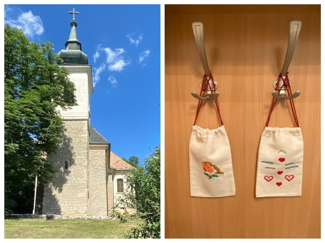 A church and two embroidered pouches