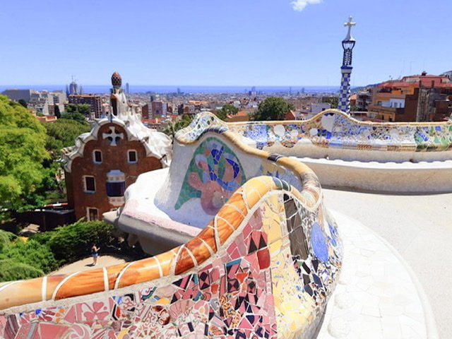 Looking over Barcelona from the theater in Park Guell