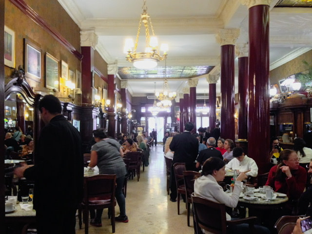 the dining room in Cafe Tortoni