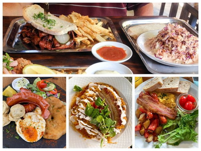 Four photos of plates full of food