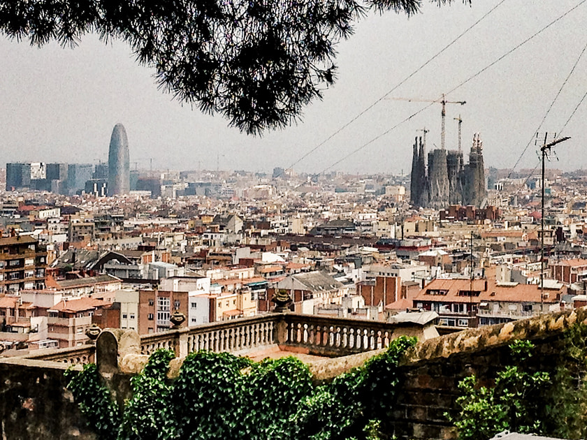 A view of Barcelona from Park Guell including La Sagrada Familia