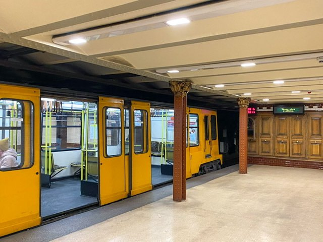 Underground car parked at Metro station 1 in Budapest