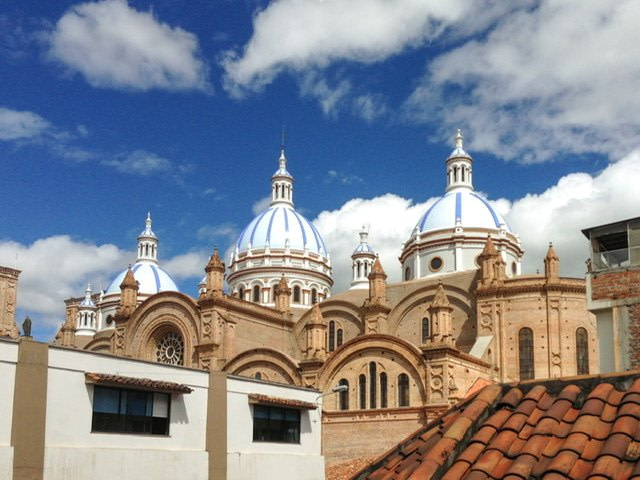 Three bule and white domes on the New Cathedral