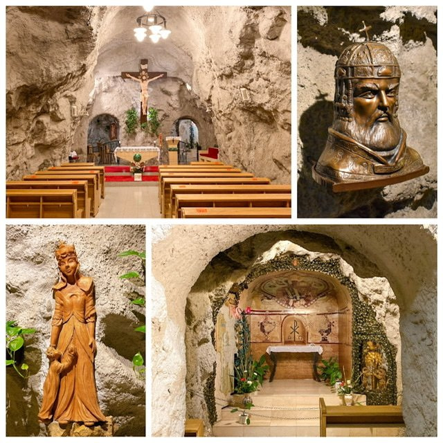 Four photos of the Cave Church in Budapest