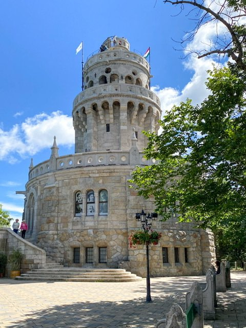 Front view of the Elizabeth Lookout Tower in Budapest