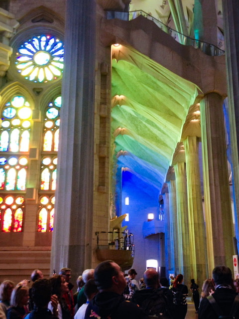 Light coming through colored windows in La Sagrada Familia