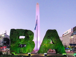 An obelisk and topiary letters B and A in Buenos Aires
