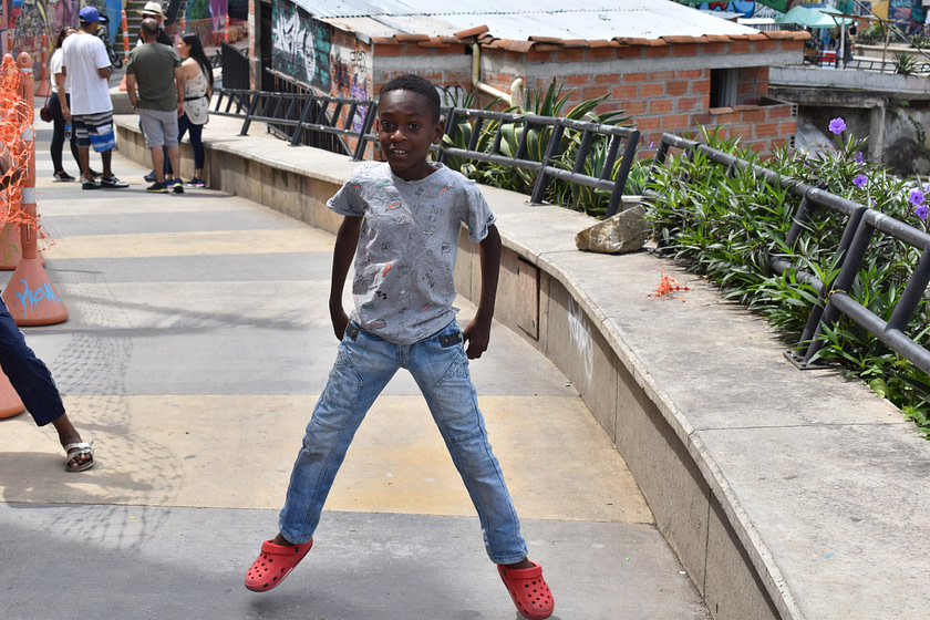 Boy dancing in the street