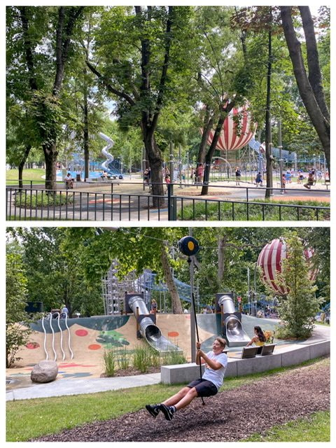 Two views of the playground in City Park, Budapest