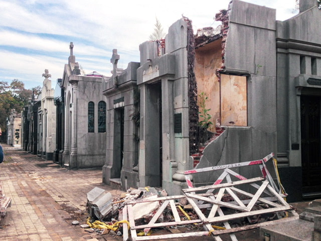 A damaged tomb in Chacarita Cemetery
