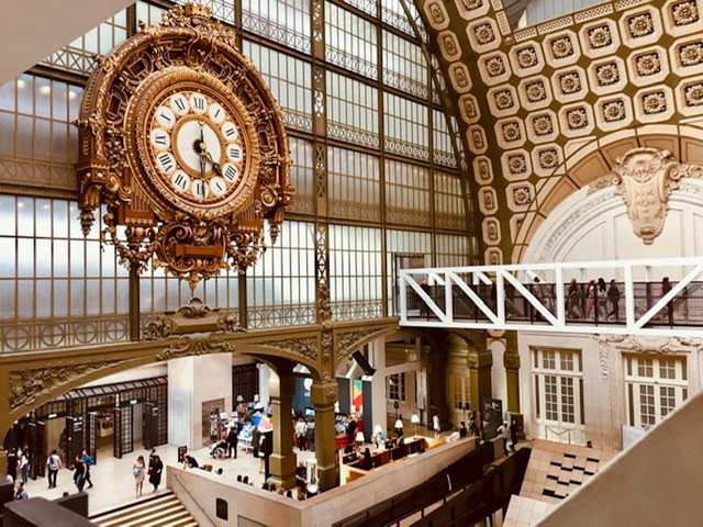Interior of the Musée d'Orsay with a large gold clock