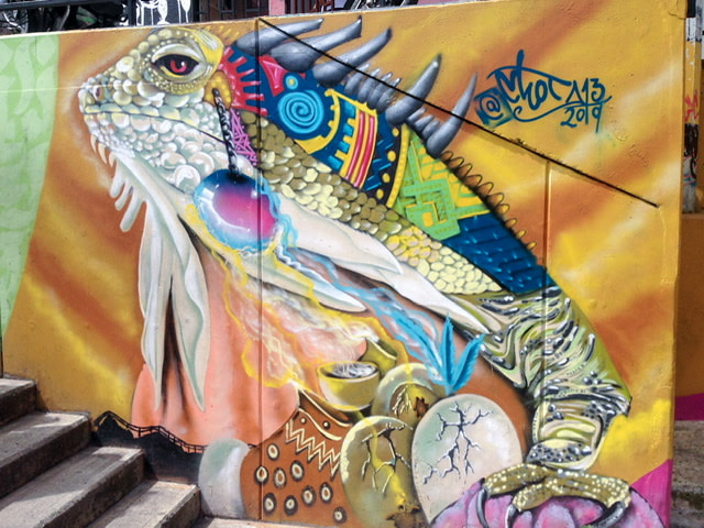 Colorful iguana mural