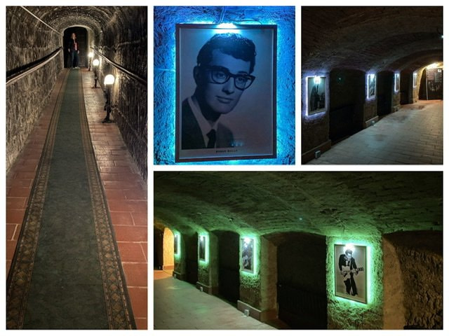Four photos of a cave in the Beatles Museum in Eger, Hungary