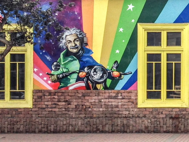 Mural of Albert Einstein on a motorcycle