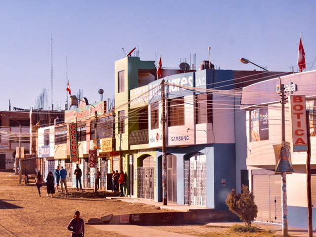 A street in La Joya, Peru on the Pan American Highway.