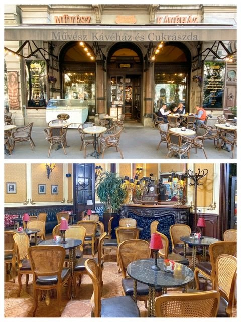 Exterior and interior views of the Muvesz Coffeehouse in Budapest