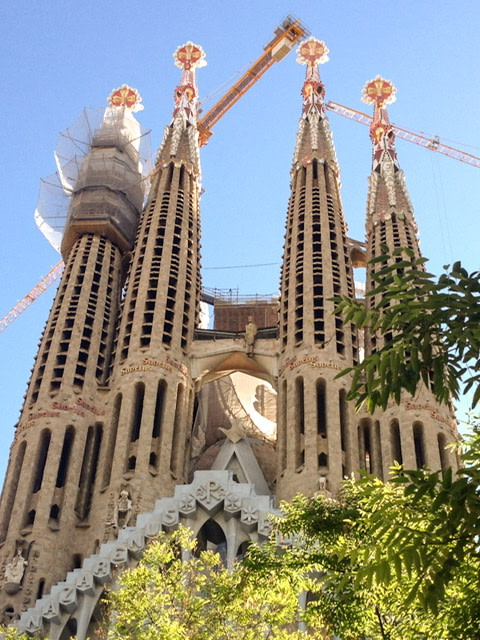 Exterior view of La Sagrada Familia in Barcelona, Spain