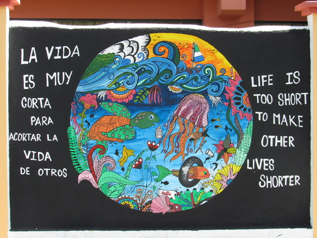 "Mural of the earth with sea creatures and the sentiment ""Life is too short to make other lives shorter"""