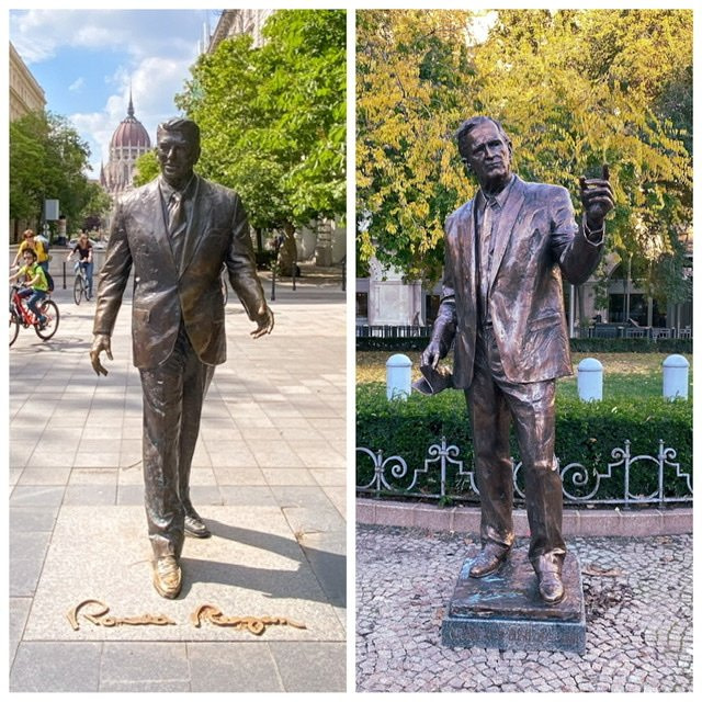 Statues of Ronald Reagan and George Bush in Liberty Square, Budapest