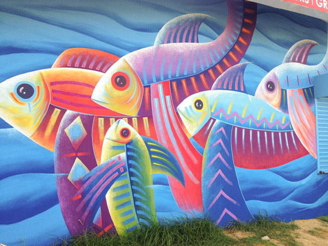 A mural of colorful fish