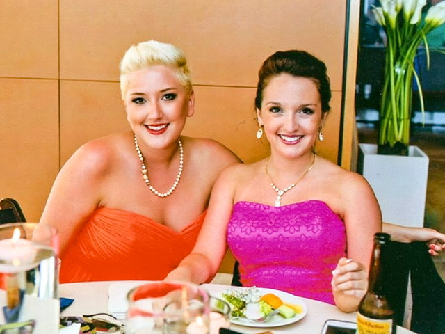 The author's daughters at a wedding reception