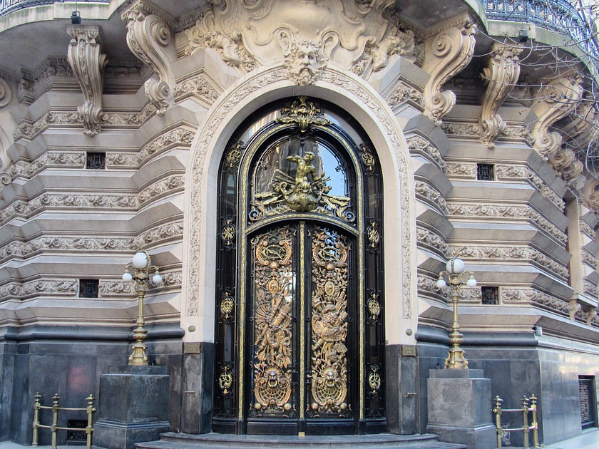 Ornate gold trimmed-door in Buenos Aires