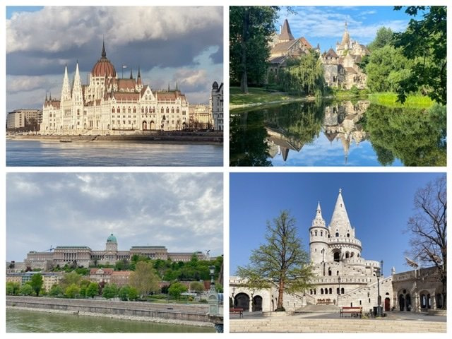 The Hungarian Parliament Building, Vajdahunyad Castle, Buda Castle, and Fisherman's Bastion