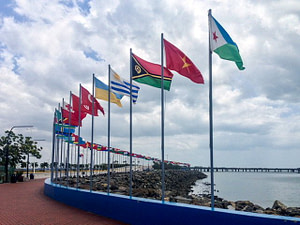 Flags of many nations along Panama Bay
