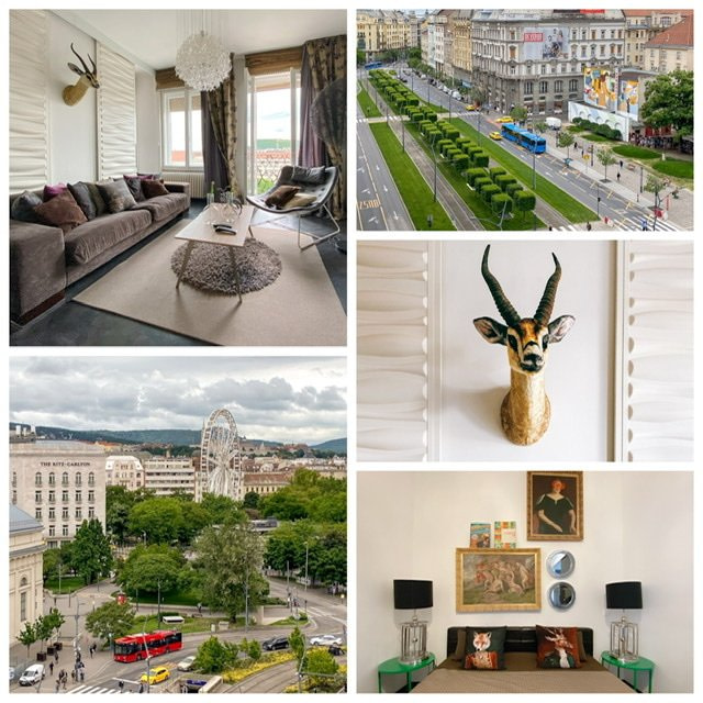 Photo collage of apartment in District VII