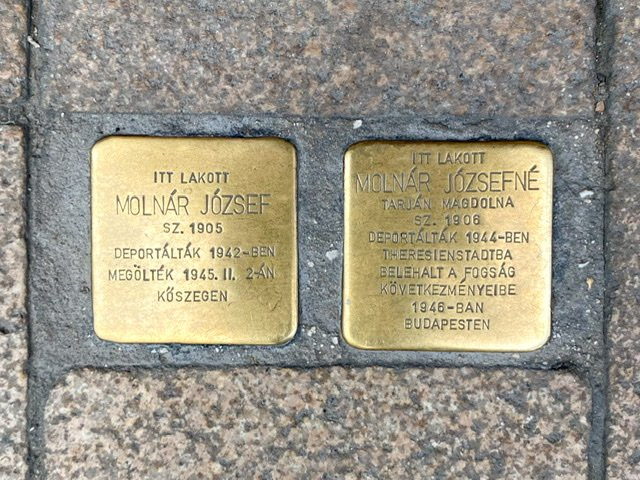 Stolpersteines (Stumbling Stones) for a husband and wife in Budapest