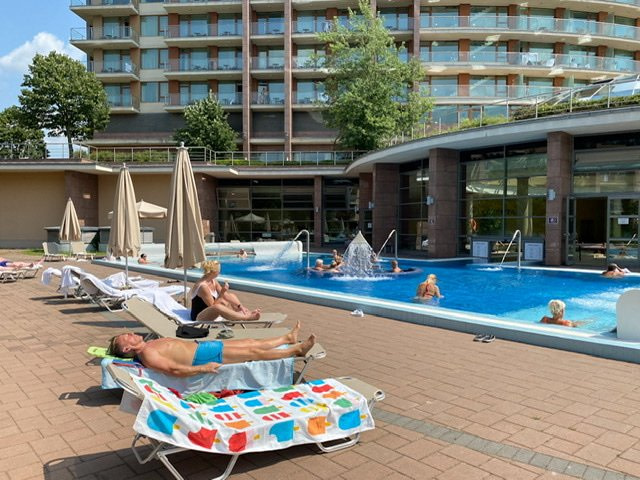 Outdoor pool and hotel at Aquaworld Resort Budapest