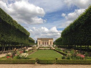The formal garden and the Queen's Hamlet at Versailles