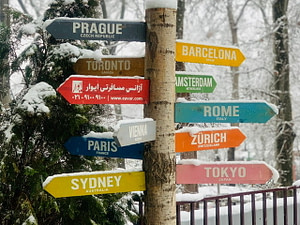 Signs pointing to various cities around the world