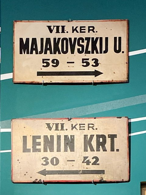 Two street signs in the Budapest History Museum