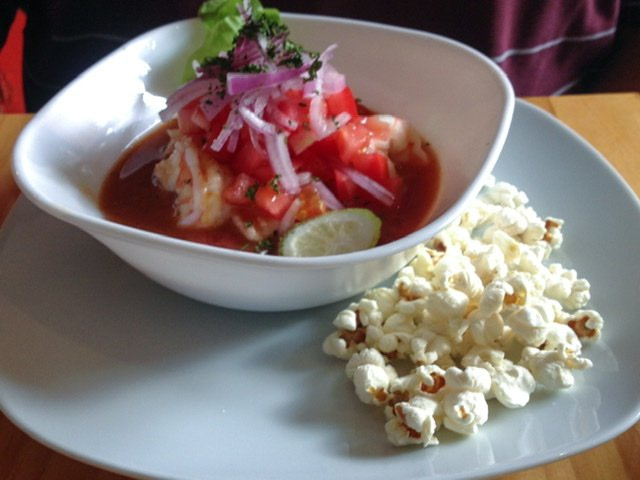 Ceviche and popcorn