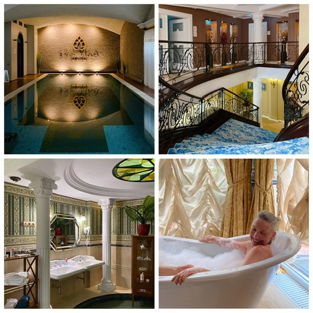 Four photos of the inside of the Erla Villa in Eger, Hungary