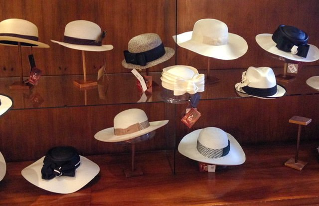 Hats in a display case