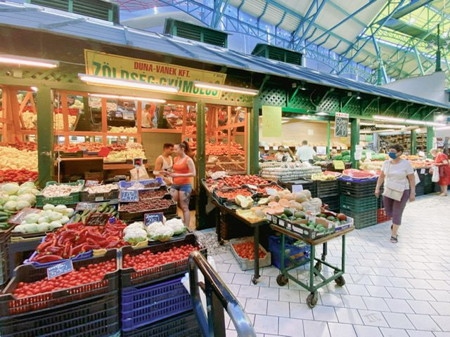 Produce stands in the Lehel Market
