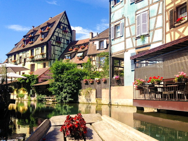 A canal and half-timber houses in Colmar, France 2018