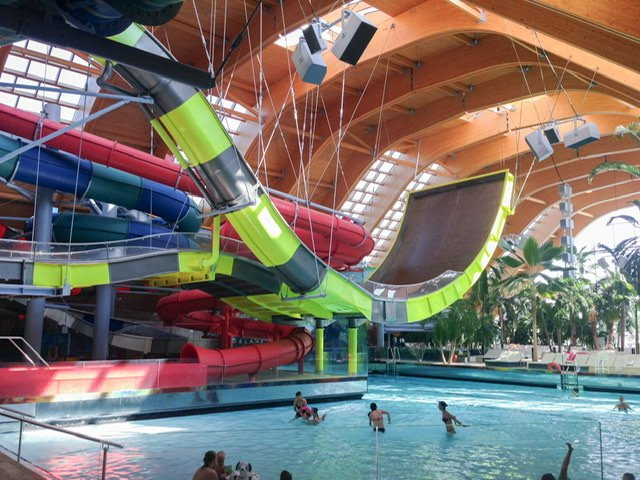 Indoor pool and large waterslides