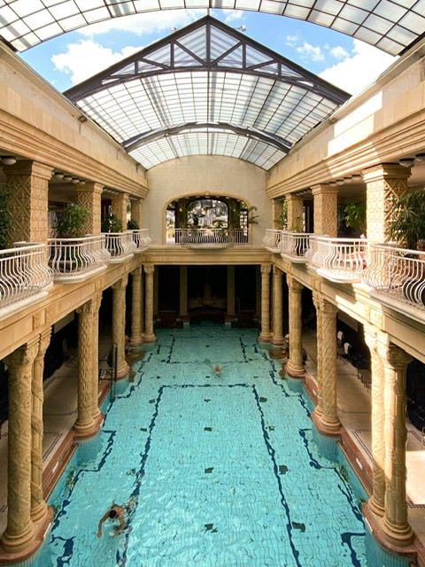 The indoor swimming pool at the Gellert Spa
