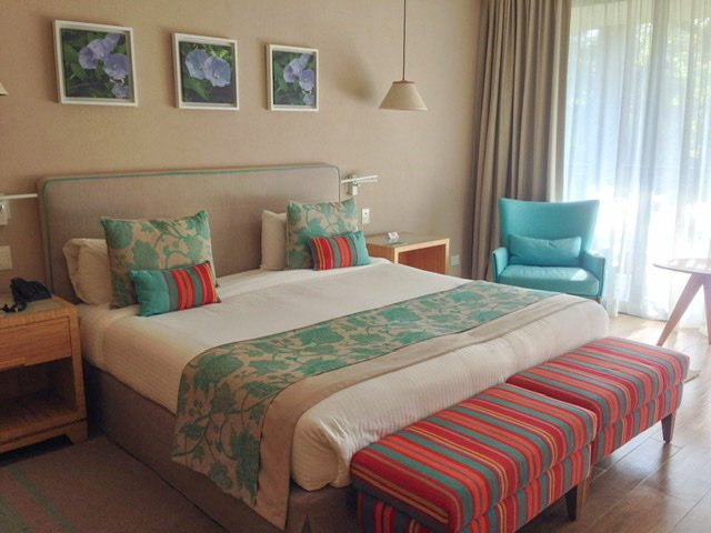 Lovely hotel room in beige and aqua