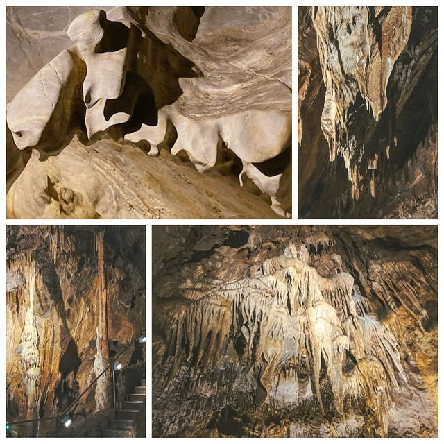 Four photos of limestone cave formations