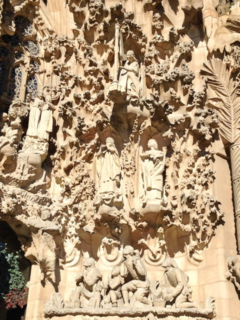 Exterior detail on La Sagrada Familia