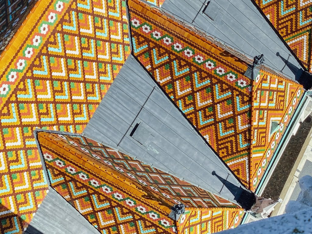 Close up of the decorative roof tiles on the Matthias Church in Budapest