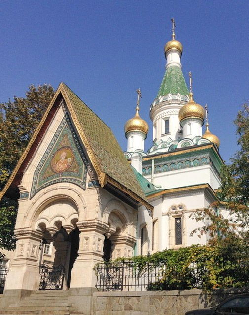 Front of a Russian Orthodox church in Sofia, Bulgaria