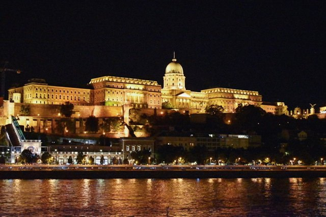Buda castle at night as seen from Pest