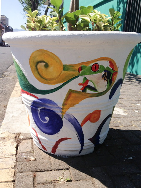 Large flower pot with a green tree frog painted on it
